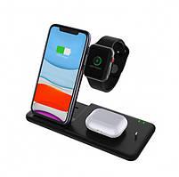Бездротова зарядка док-станція MICRONIK Q20 4в1 швидка зарядка для Android iWatch AirPods iPhone чорна, фото 2