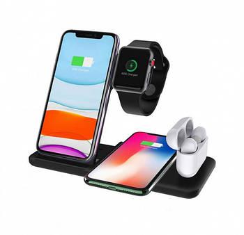 Бездротова зарядка док-станція MICRONIK Q20 4в1 швидка зарядка для Android iWatch AirPods iPhone чорна