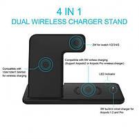 Бездротова зарядка док-станція MICRONIK Q20 4в1 швидка зарядка для Android iWatch AirPods iPhone чорна, фото 7