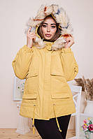 Парка женская цвет Желтый   Женские демисезонные куртки