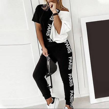 Жіночий літній костюм з турецької двунити довга футболка і штани, фото 2