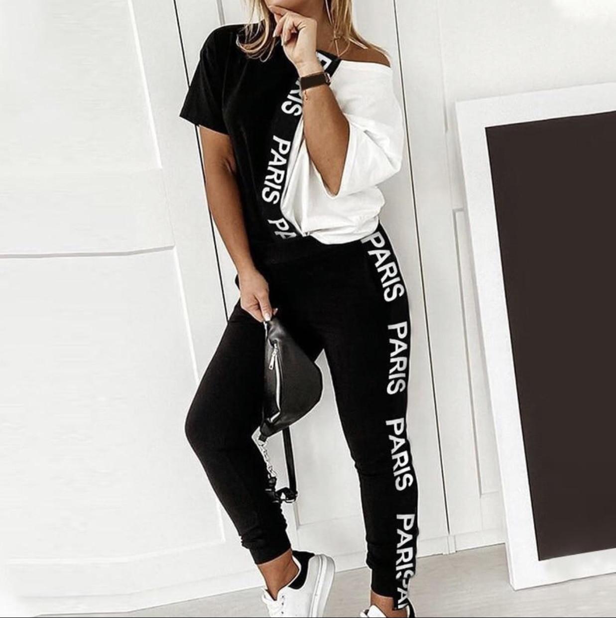 Жіночий літній костюм з турецької двунити довга футболка і штани