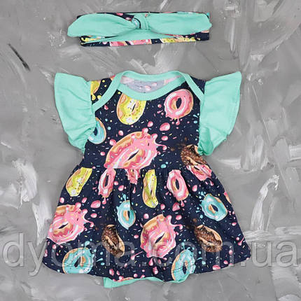 """Дитячий боді - сукня з пов'язкою """" Пончики """", фото 2"""