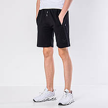 Мужские трикотажные шорты Adidas, черного цвета с черными полосками.