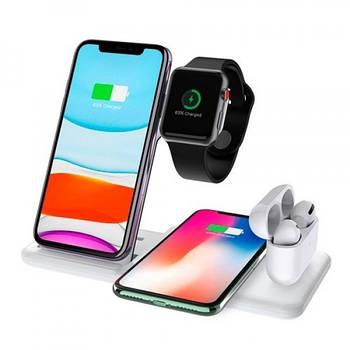 Бездротова зарядка док-станція MICRONIK Q20 4в1 швидка зарядка для Android iWatch AirPods iPhone біла