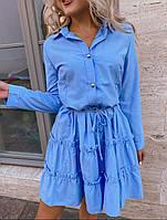 Удобное женское платье до колен летнее на пуговицах, стильные платья лето 2020