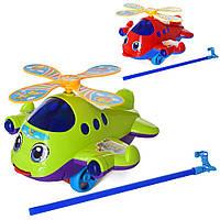 Каталка 32318A (60шт) на палке, вертолет 24см, звук,вращ.винт,2 цвета, в кульке,24-20-3см