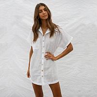 Женская рубашка пляжная на пуговицах белая опт, фото 1