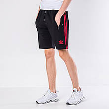Мужские трикотажные шорты Adidas, черного цвета с красными полосками.
