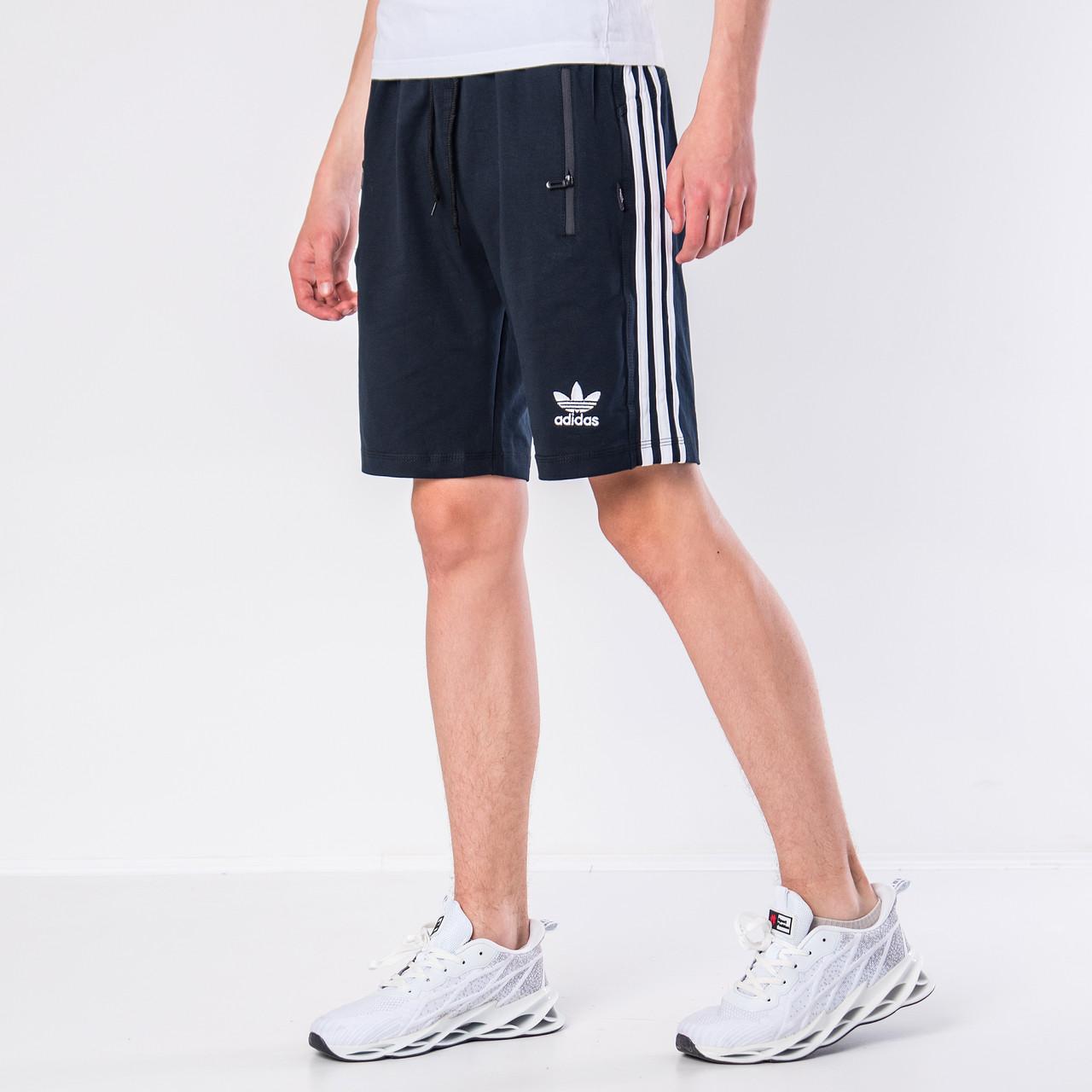 Чоловічі трикотажні шорти Adidas, синього кольору з білими полосками