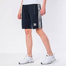 Мужские трикотажные шорты Adidas, синего цвета с белыми полосками.
