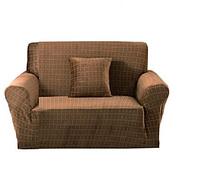 Натяжной чехол на кресло без юбки, чехлы для кресел HomyTex микрофибра Велюровый Песочный Разные цвета, фото 1