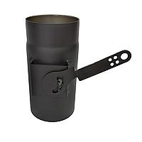 Регулятор тяги ø200 мм 2 мм для камина печи дымохода дымоходный из чёрного металла цвета стальной Версия-Люкс