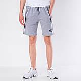 Чоловічі трикотажні щорти Adidas, сірого кольору з чорними полосками, фото 3