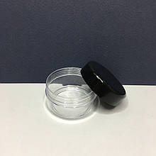 Баночка прозрачная 30 мл с черной крышкой (тара для косметики, различных сыпучих веществ)
