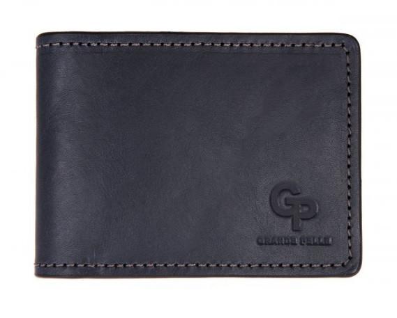 Чоловічий затиск для грошей і карток Grande Pelle, синій гаманець з натуральної шкіри, чоловіче портмоне