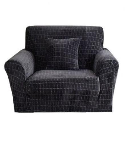 Чохли для крісел без спідниці, чохли на крісла натяжні HomyTex мікрофібра Велюр Темно сірий Графіт Різні кольори