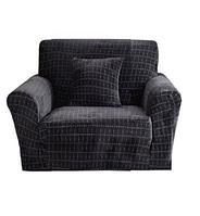 Чохли для крісел без спідниці, чохли на крісла натяжні HomyTex мікрофібра Велюр Темно сірий Графіт Різні кольори, фото 1