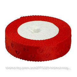 Лента репсовая выбитая, ширина 2,5 см,  23 м, Красная
