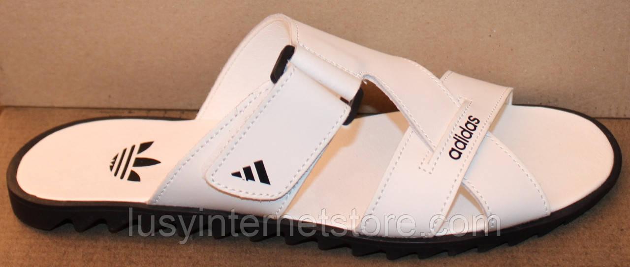 Сабо белые мужские на липучке кожаные от производителя модель ВР21-201