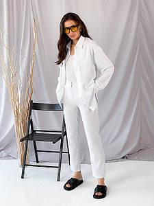 42-48 Женский костюм из рубашки и штанов, вискоза и лен