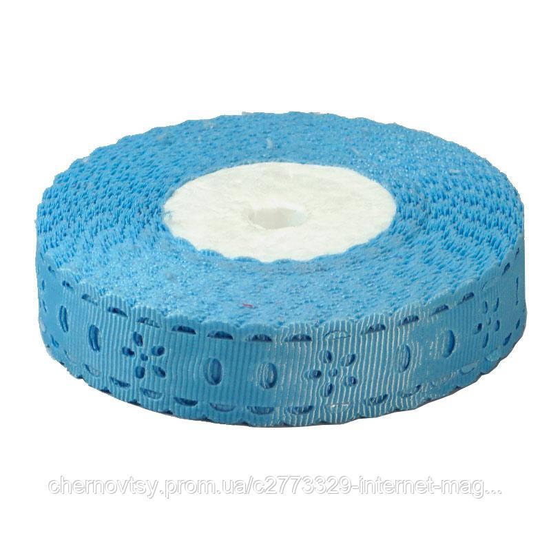 Репсова стрічка вибита, ширина 1,8 см, 23 м, Блакитна