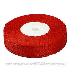 Лента репсовая выбитая, ширина 1,8 см,  23 м, Красная