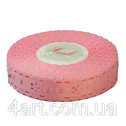 Лента репсовая выбитая, ширина 1,8 см,  23 м,Розовая