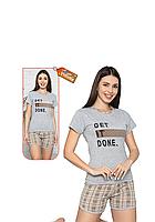 Пижама женская комплект-двойка (бриджи + футболка) ASMA 11107 Серая