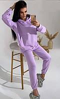 Женский спортивный костюм весна/осень, костюм с капюшоном, двунить, размер L, цвет сиреневый