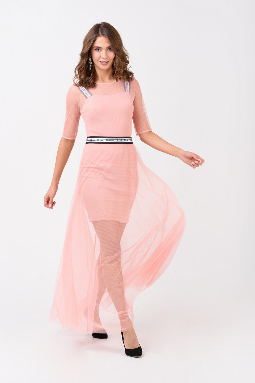 Женское вечернее двухслойное платье розовое  в спорт стиле RicaMare MKRM1905-18VP