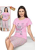 Пижама женская комплект-двойка (бриджи + футболка) ASMA 11109 Розовая