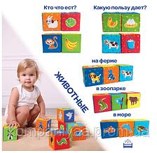 """Детский набор мягких кубиков """"Животные"""" МС 090601-04"""