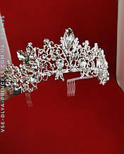 Диадема корона под серебро с  крупными камнями, диадема, тиара, высота 6 см.