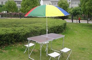 Раскладной туристический стол + 4 стула + Зонт для пикника и туризма Коричневый