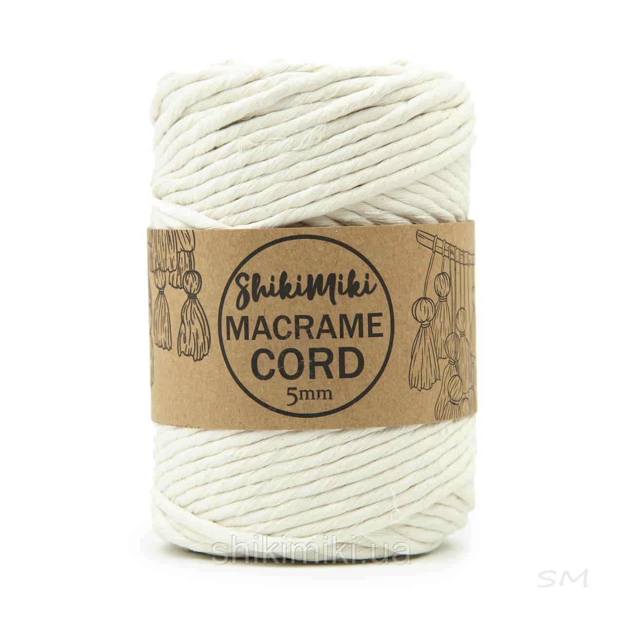 Еко шнур Macrame Cord 5 mm, колір Молочний