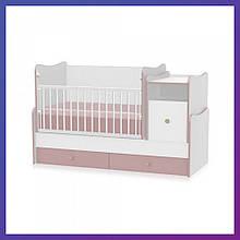 Приставная детская кроватка-трансформер Bertoni TREND PLUS white/cappucino