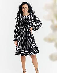 Женское черное платье миди с объемными рукавами
