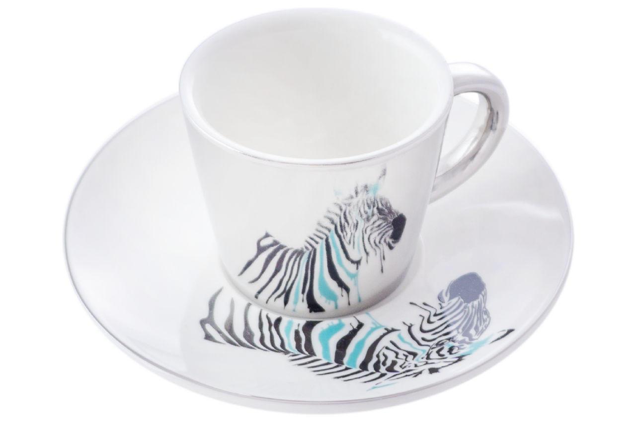 Чашка з блюдцем керамічна Elite - 60мл зебра (EL-SD-13)