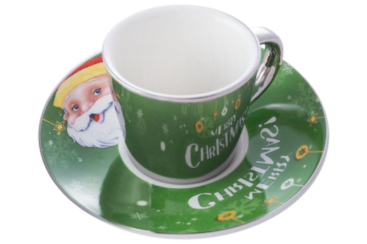 Чашка с блюдцем керамическая Elite - 60 мл Merry Christmas (EL-SD-15)