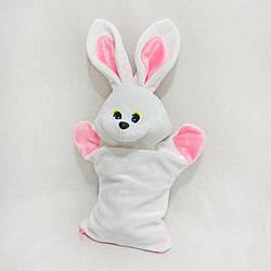М'яка іграшка Zolushka Рукавичка для цукерок Заєць Сніжок 40см білий (ZL4471)