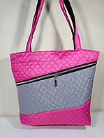 Сумка-шопер  стеганая с карманом женская  серо-розовая