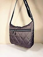 Женская Стеганая сумка на длинном ремешке кофейная, фото 1