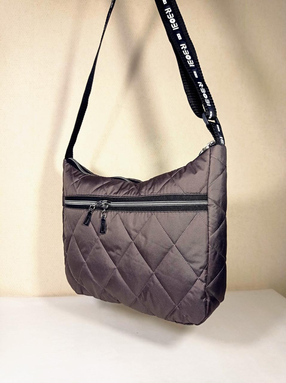 Женская Стеганая сумка на длинном ремешке кофейная