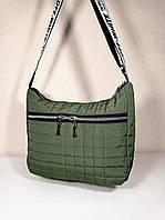 Женская Стеганная дутая сумка, хаки, фото 1