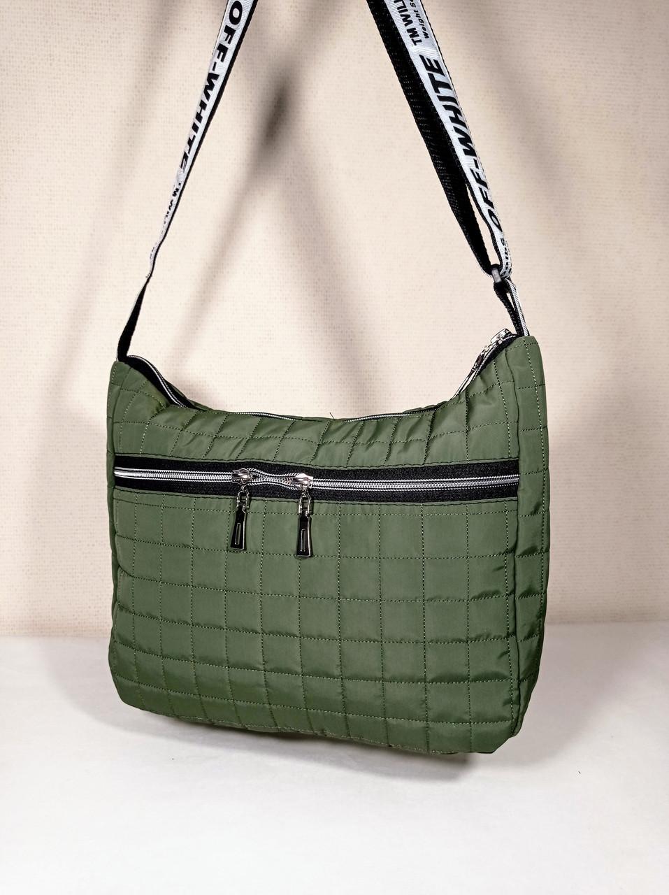 Женская Стеганная дутая сумка, хаки