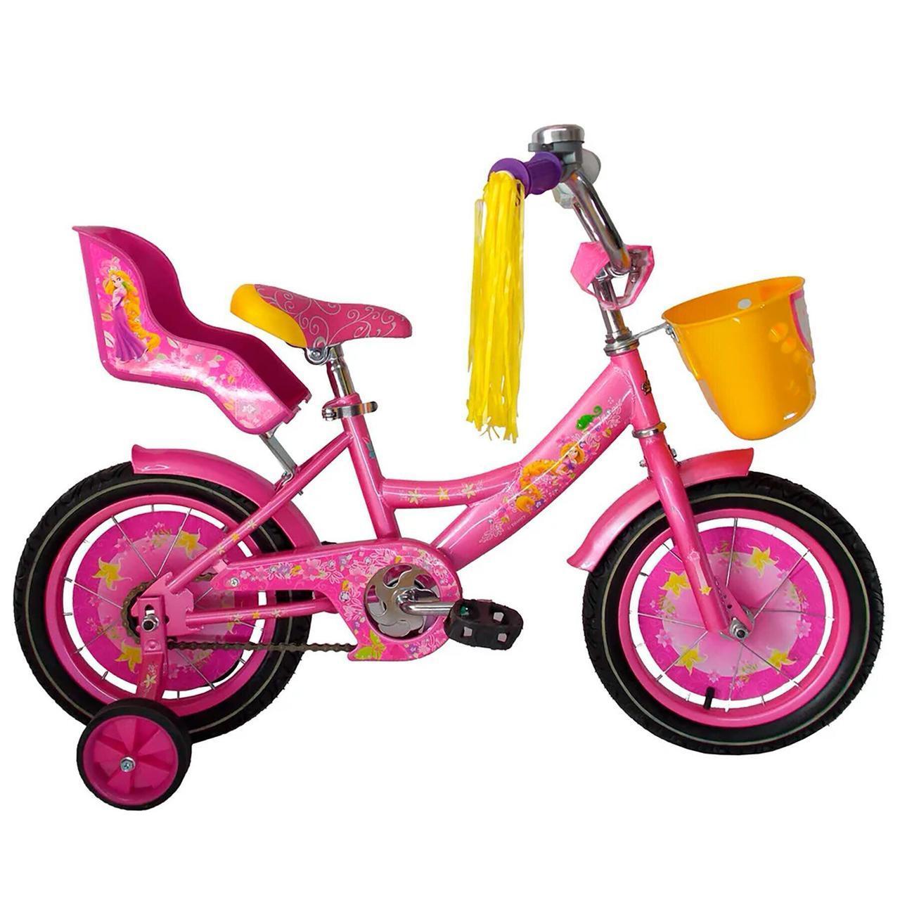 Велосипед детский двухколесный для девочки Azimut Girls с корзинкой