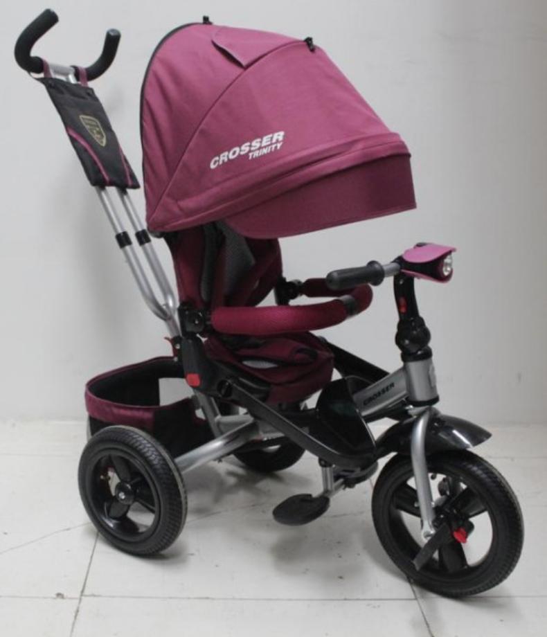 Велосипед дитячий триколісний (коляска) з ручкою і поворотним сидінням Azimut Crosser T-400 Trinity Air