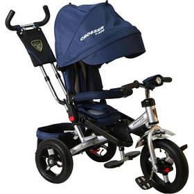 Велосипед детский трехколесный (коляска) с ручкой и поворотным сиденьем Azimut Crosser T-400 Trinity Air Синий
