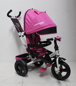 Велосипед детский трехколесный (коляска) с ручкой и поворотным сиденьем Azimut Crosser T-400 Trinity Air Розовый